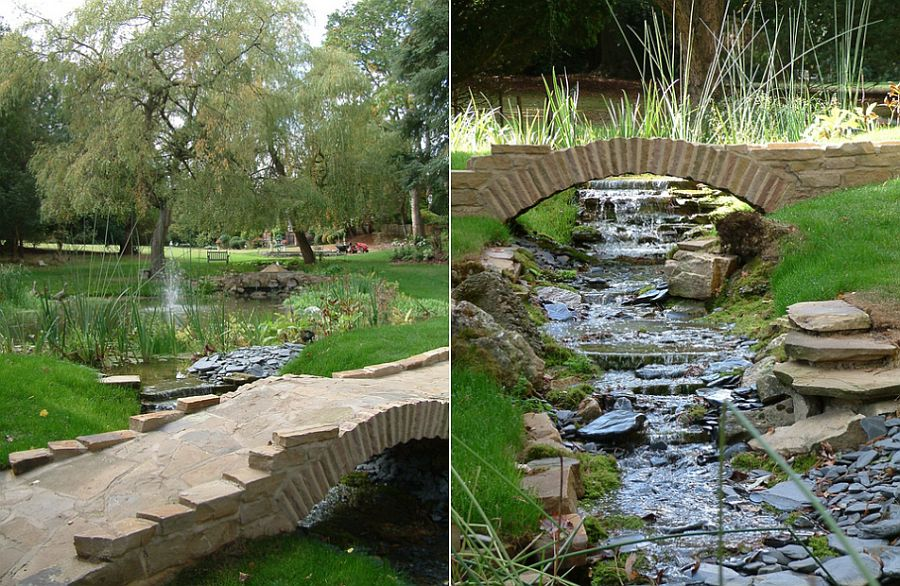 Delightful series of natural ponds and streams shape the scenic landscape [Design: Cool Gardens Landscaping]
