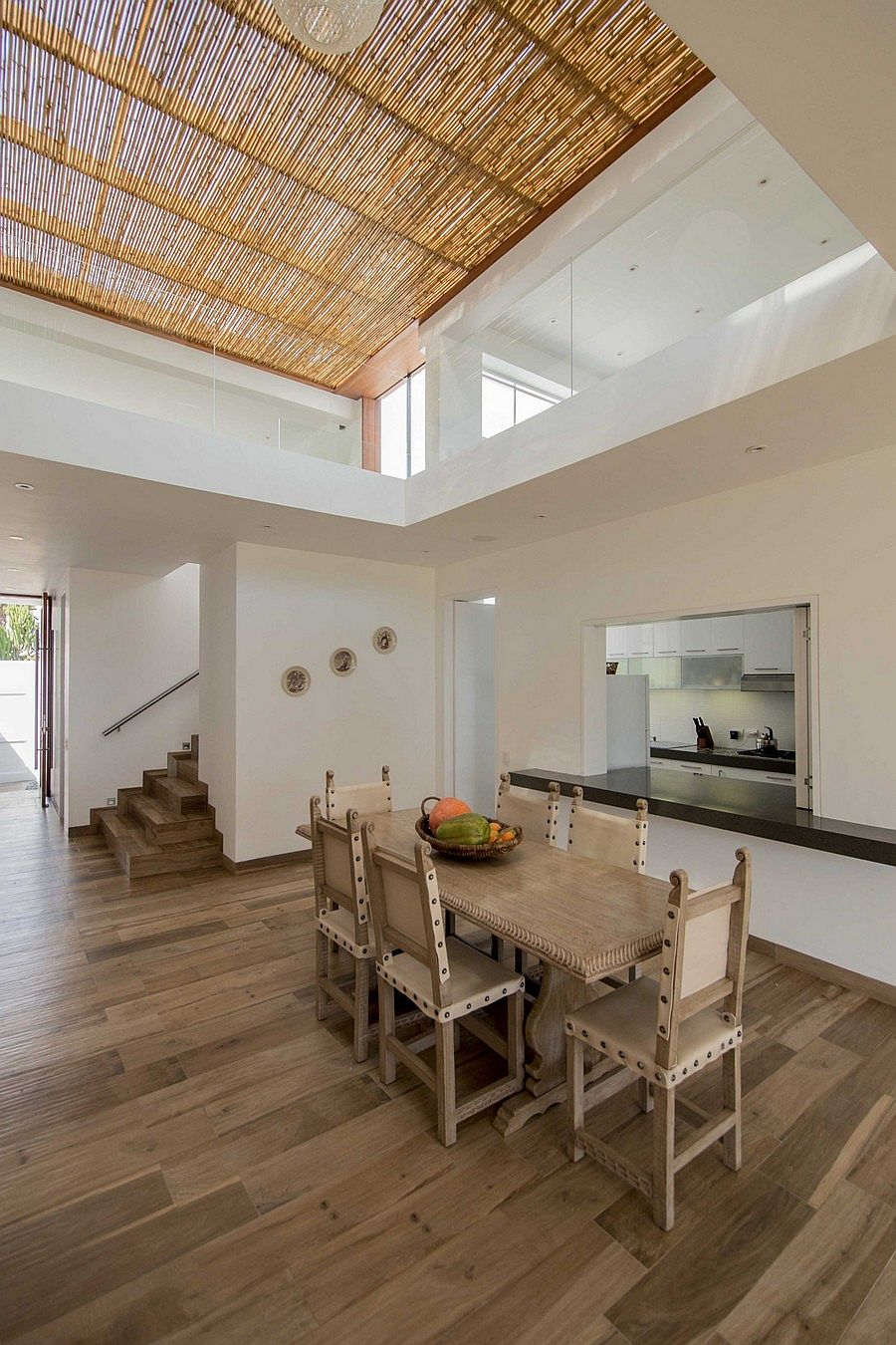 Dining area of the modern home in Peru with unassuming decor