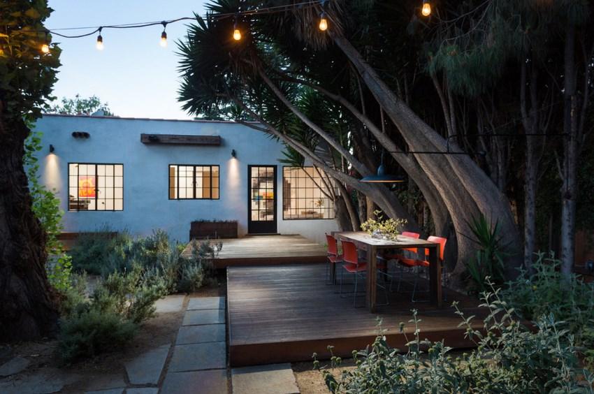 Dining deck in a modern backyard