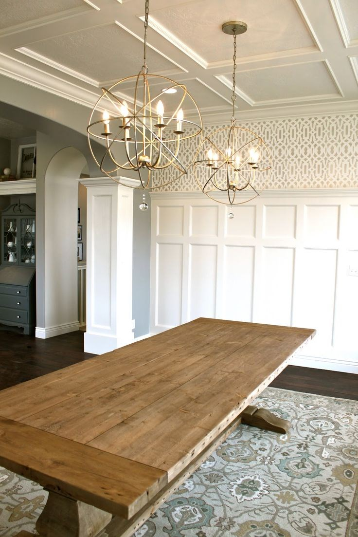 Add personality to your interior with a coffered ceiling for Dining table lighting ideas