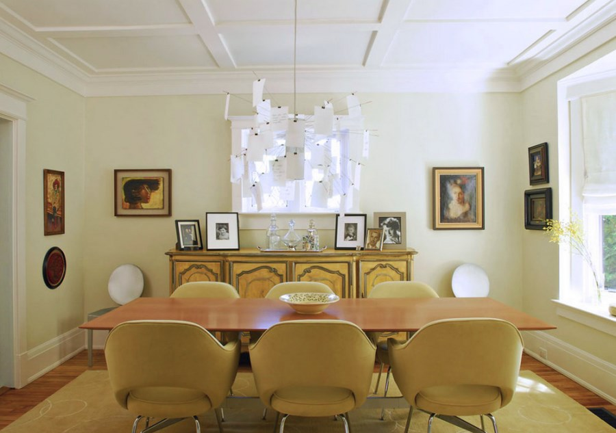 Dining room with a coffered ceiling