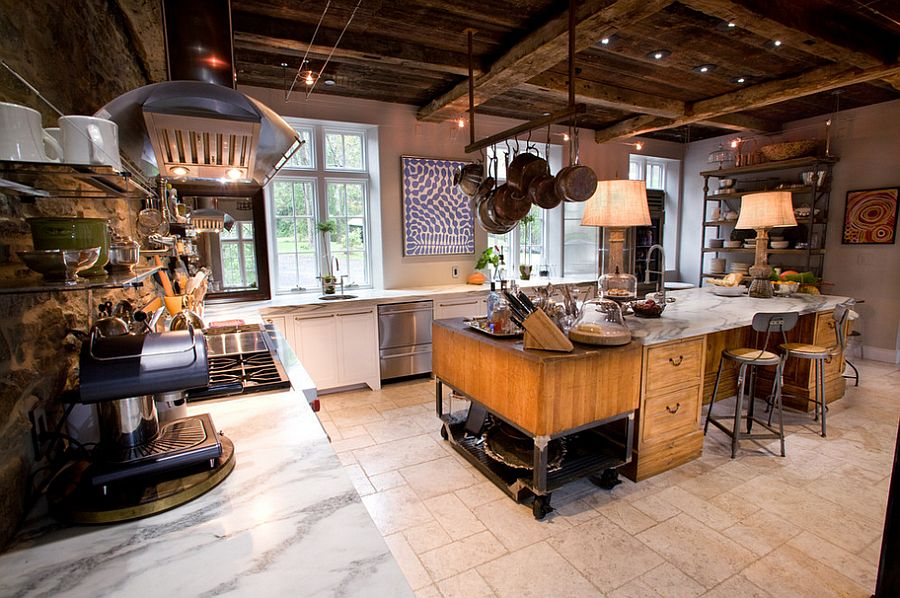 Eclectic farm home with vintage industrial kitchen [Design: Jarrett Design]
