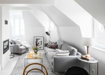 Elegant Scandinavian style is perfect for the small attic apartment [From: Fredric Boukari Photography]