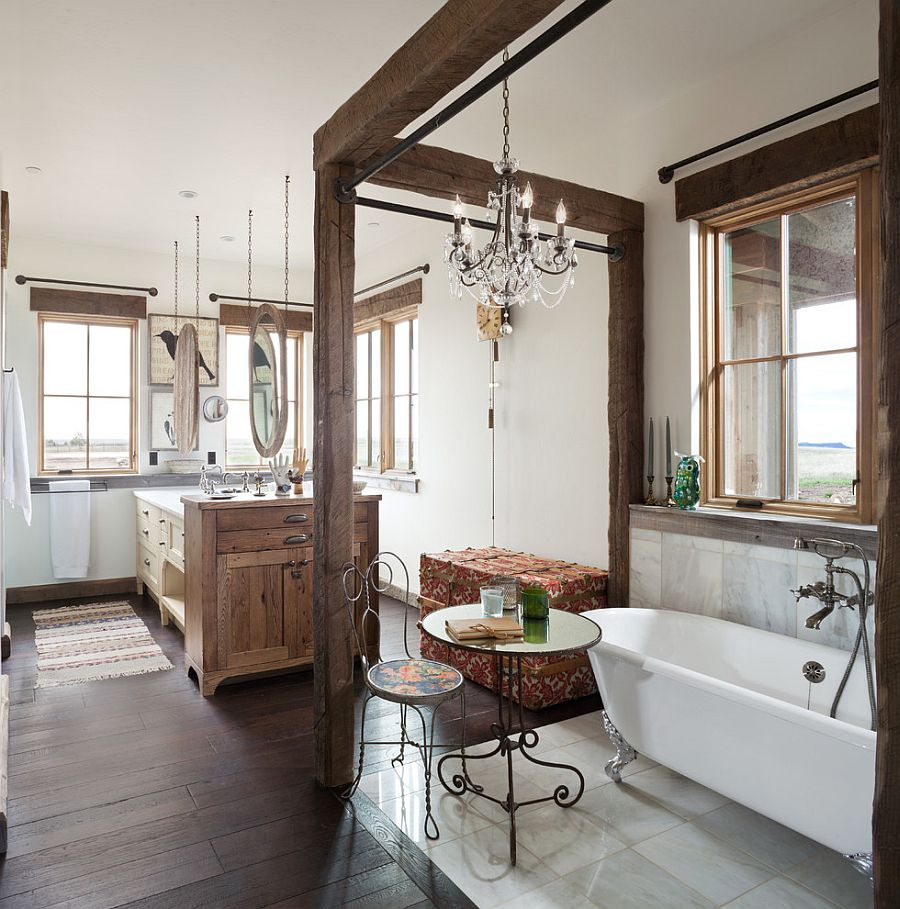 Elegant bathroom in Denver home with a refined rustic style [Design: Haley Custom Homes]