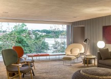 Elegant decor inside the smart B B House connected with the balcony outside 217x155 Contemporary Style Meets Midcentury Flair Inside Cozy Sao Paulo House