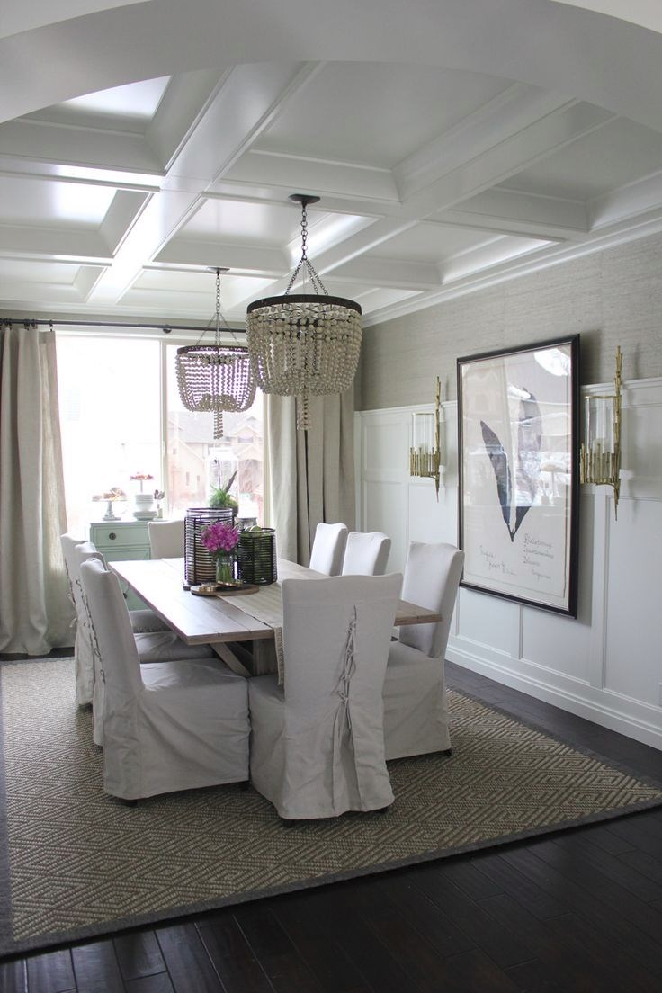 Elegant dining room with a coffered ceiling