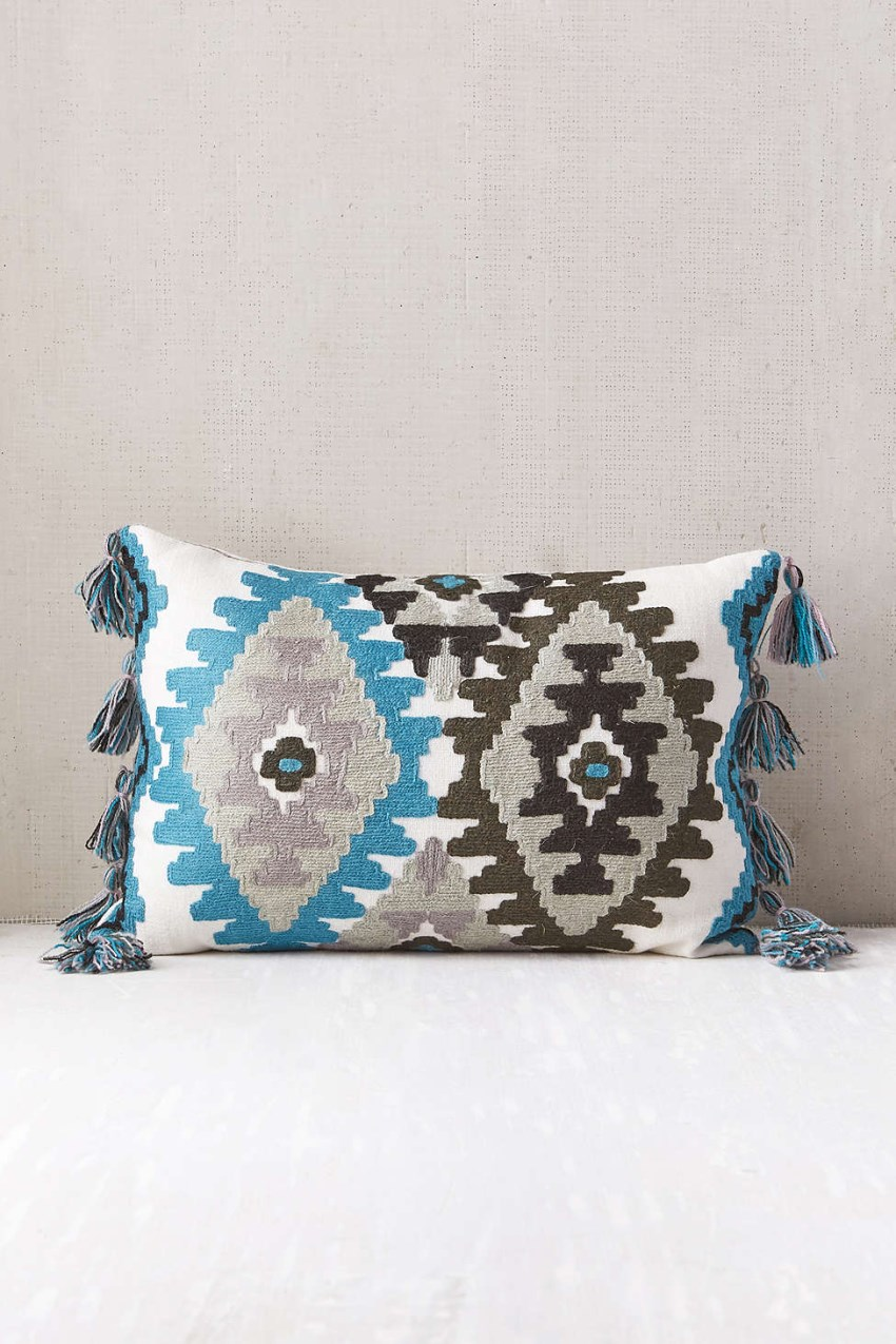 Embroidered tassel pillow from Urban Outfitters