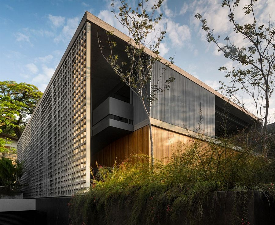 Entrance to the B+B House in Sao Paulo with concrete cut-out installation
