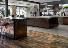 Expansive industrial kitchen in the loft home [Design: Siberian Floors]