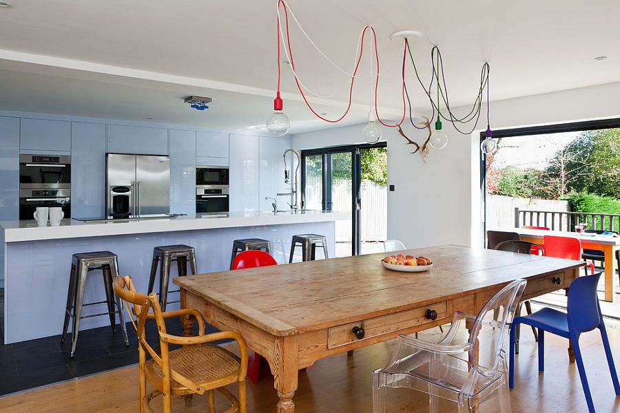 Exposed filament bulb pendants are a hot trend in the lighting world [Design: Boutique Homes]