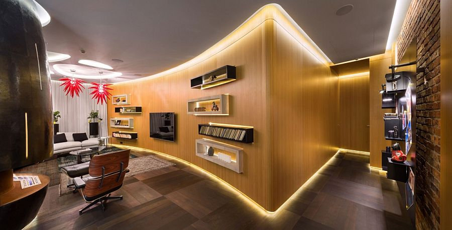 Exquisite Kiev apartment with curved wooden wall and brilliant LED strip lighting Embracing Bold Art & Edgy Design: Dazzling Apartment in Kiev