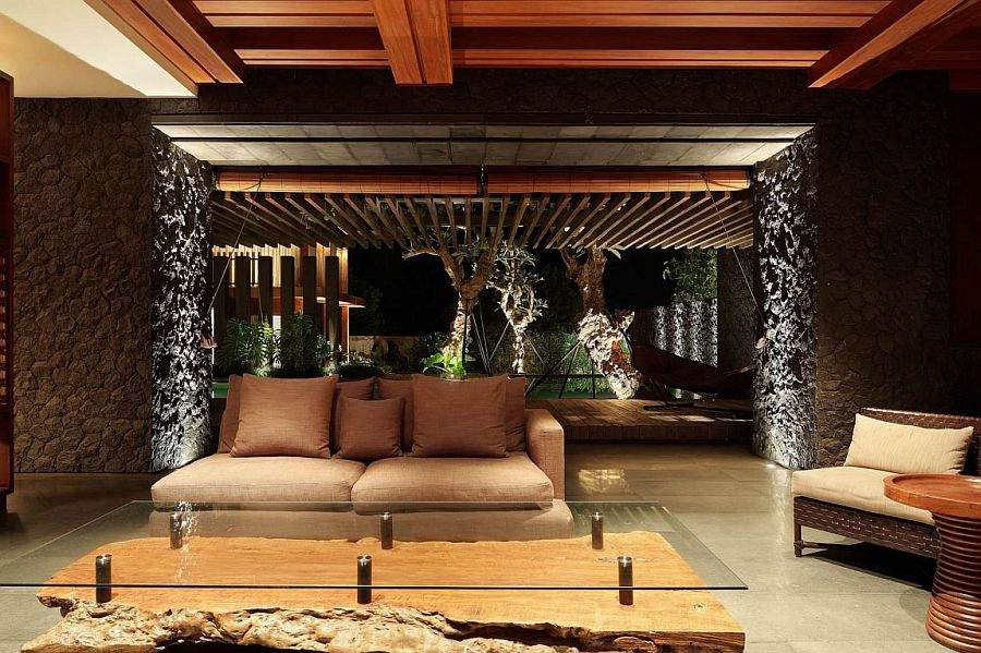 Exquisite lighting enlivens the stylish villa in Bali after sunset