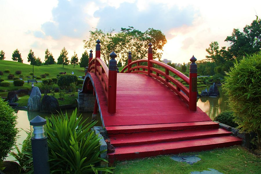 View In Gallery Fabulous Japanese Wooden Garden Bridge Inspiration In Red
