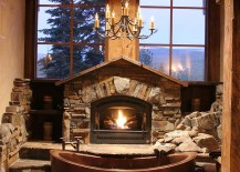 Fabulous-cabin-style-bathroom-with-copper-bathtub-fireplace-and-large-windows-217x155
