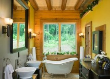 Farmhouse and rustic styles rolled into one inside this narrow bathroom [Design: Littlebranch Farm]