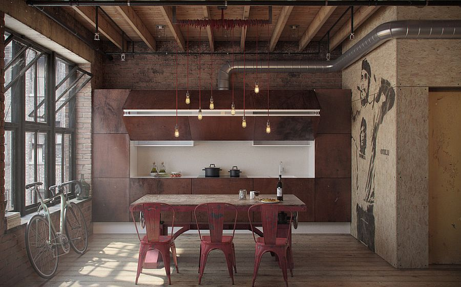 Fascinating use of color and texture in the stripped-down industrial kitchen [Design: NORDES]