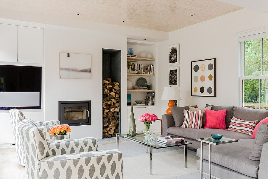 Firewood used as a decorative addition in the living room [Design: Terrat Elms Interior Design]