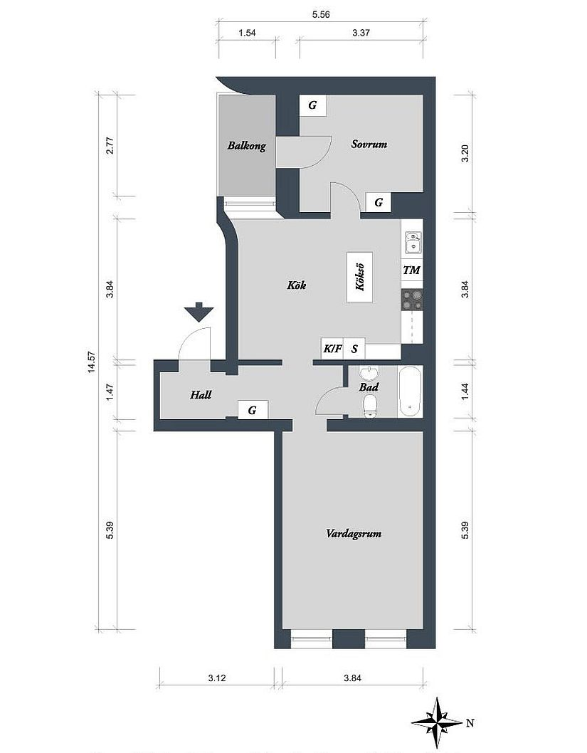 Floor plan of the small Scandinavian apartment in Gothenburg, Sweden