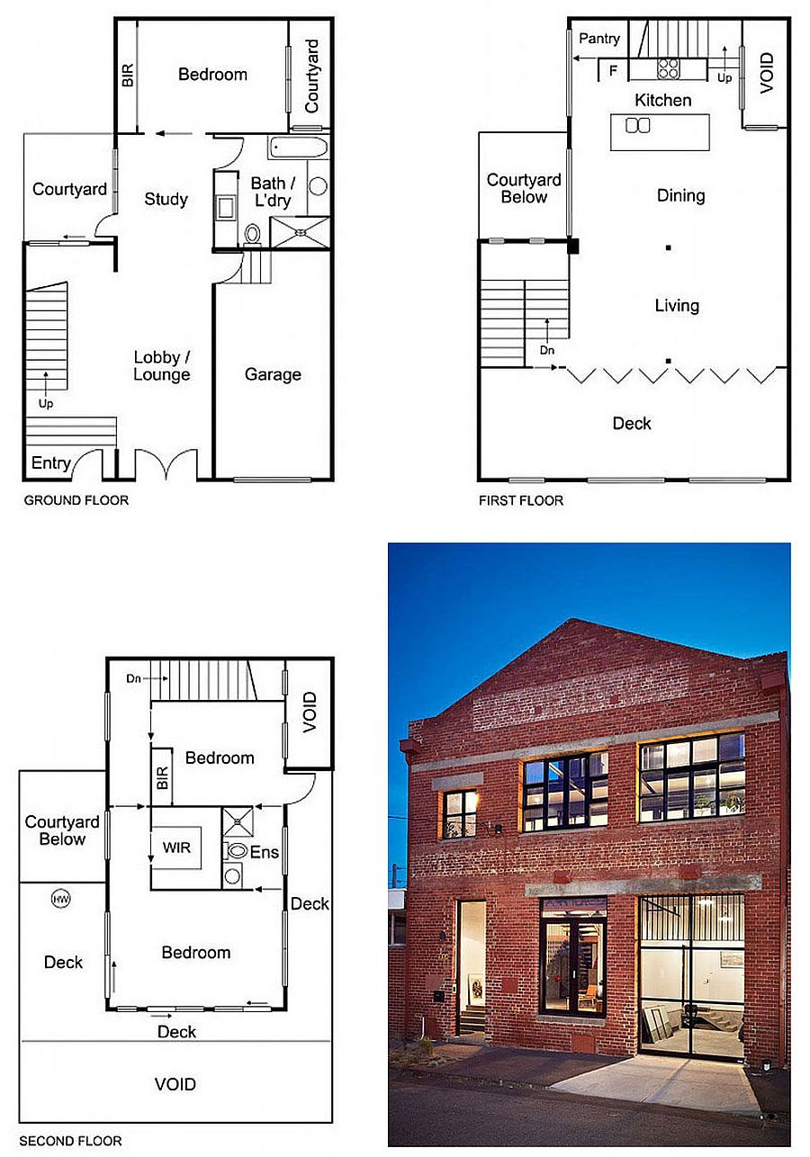 Floor plan of the various levels of the converted warehouse home