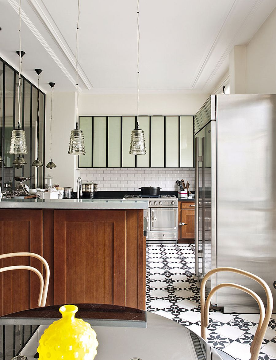 Floor tiles add pattern and style to the modern kitchen