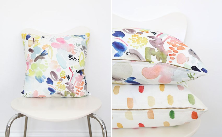 Floral abstract pillow from Etsy shop Yao Cheng Design