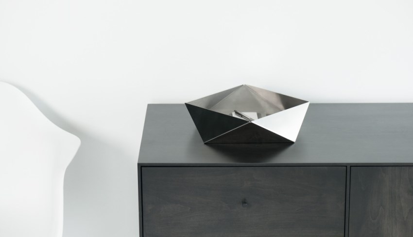 Folded metal dish from Finell