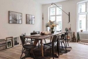 Formal dining area and home workspace elegantly rolled into one