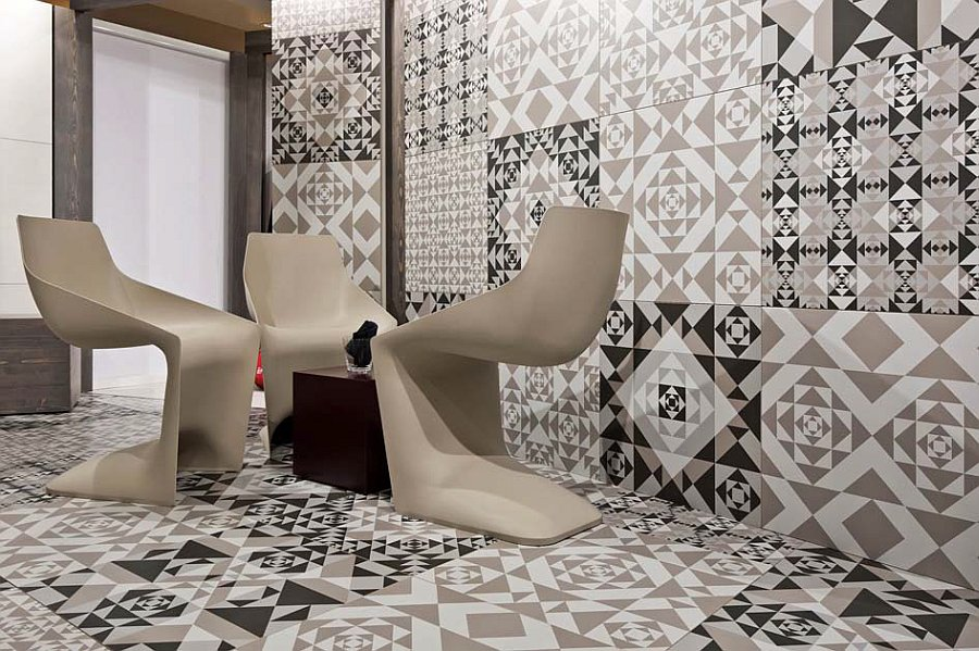 Frame-up collection porcelain tiles