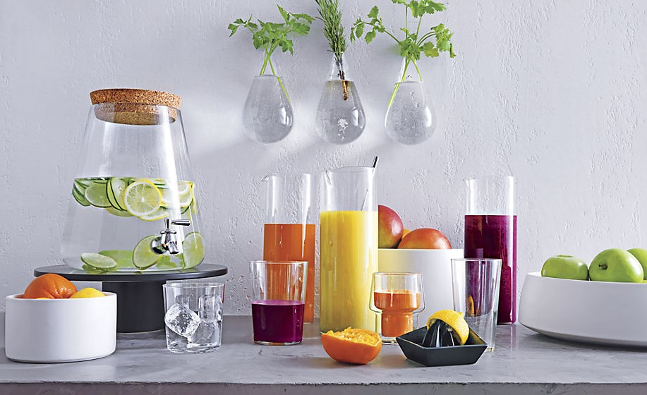 Fruit juice in glass pitchers from CB2