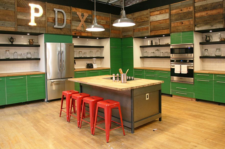 Fun use of color and reclaimed wood in the unique kitchen [Design: Jen Chu Design]