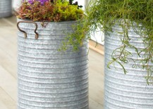 Galvanized buckets make for beautiful planters