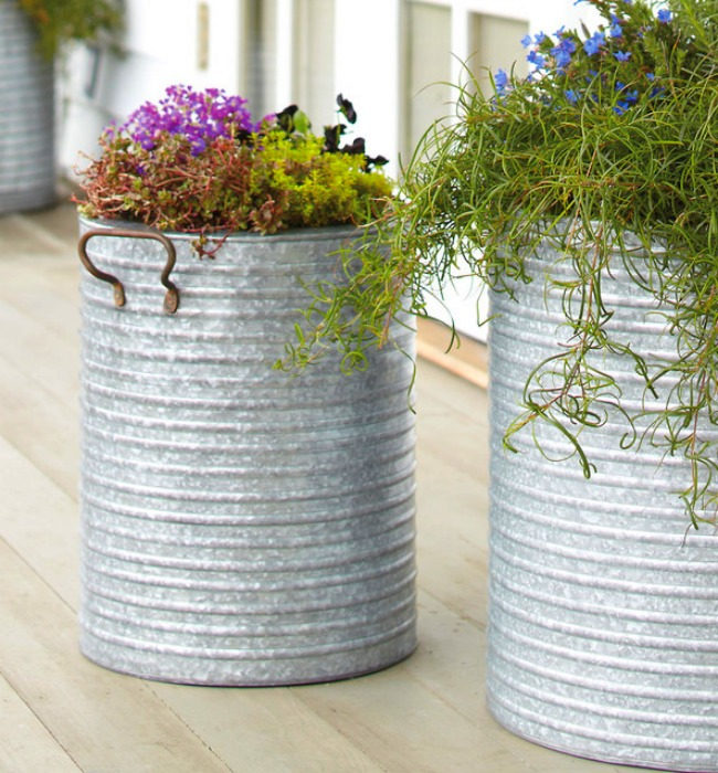 These buckets are a great example of how to achieve height with a patio planter