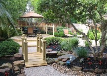 Garden bridges bring a dreamy holiday vibe to the backyard 217x155 50 Dreamy and Delightful Garden Bridge Ideas