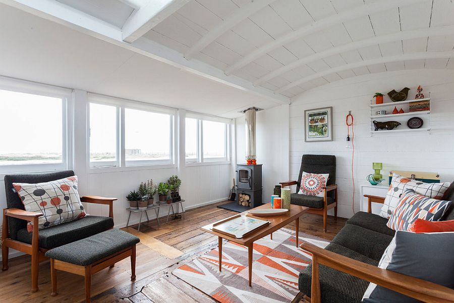 Geometric patterns add style to the Scandinavian living room [Photography: Chris Snook]
