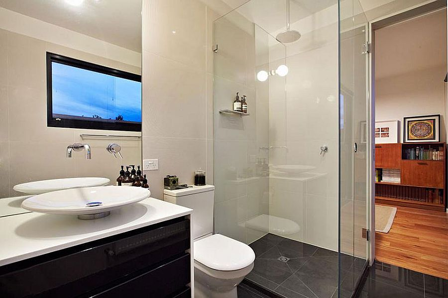 Glass shower idea for the modern bathroom in black and white