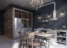 Gorgeous gray backsplash for the chic industrial kitchen [Design: INT2architecture]
