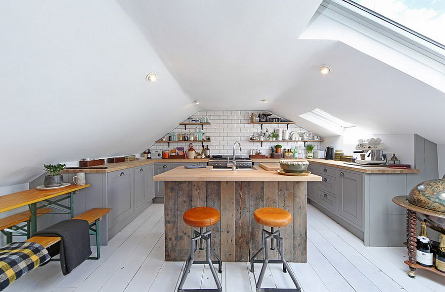 View In Gallery Gorgeous Loft Kitchen With Industrial Style And A Large Skylight Design All Nxthing