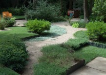 Grass and gravel in a landscaped outdoor space