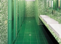 Green terrazzo tile in a commercial bathroom