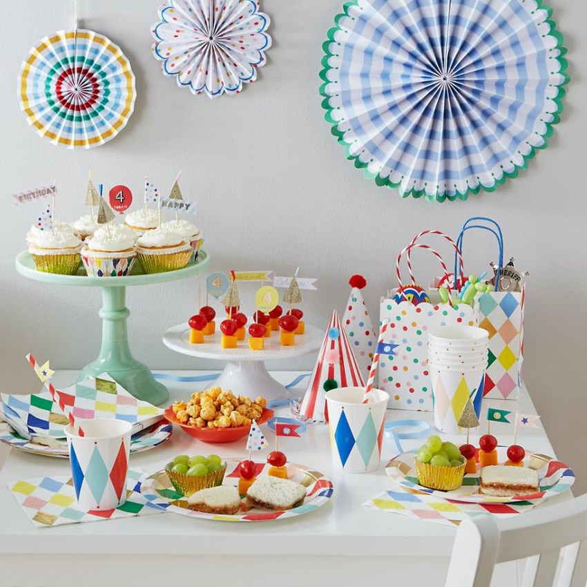 Harlequin party supplies from The Land of Nod