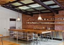 Haverhill Pendant by Hudson Valley Lighting in the elegant industrial kitchen [Design: Jane Kim Design]
