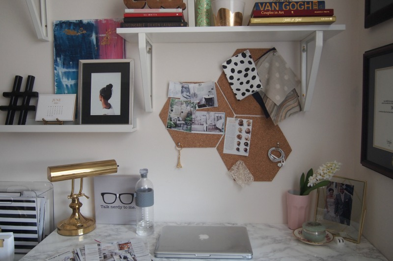 Hexagon cork boards over desk