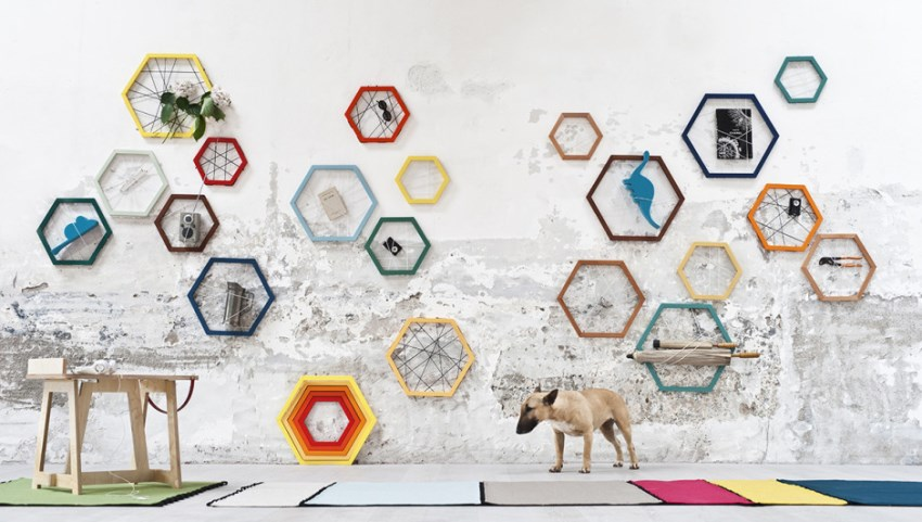 Hexagonal wall storage system by Formabilio