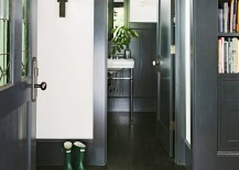 Home entryway featuring black trim