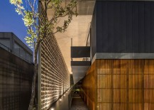 Illuminated ramp leads to the entry of the lavish private home
