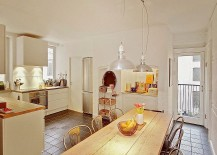 Industrial style lighting in the small dining area