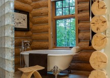 Ingenious way to usher in the log cabin look into the small bathroom [Design: Bay Cabinetry & Design Studio]