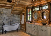 Interesting use of round mirrors in the rustic bathroom [Design: Lands End Development]