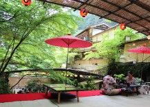 Japanese waterfall restaurant with red lanterns
