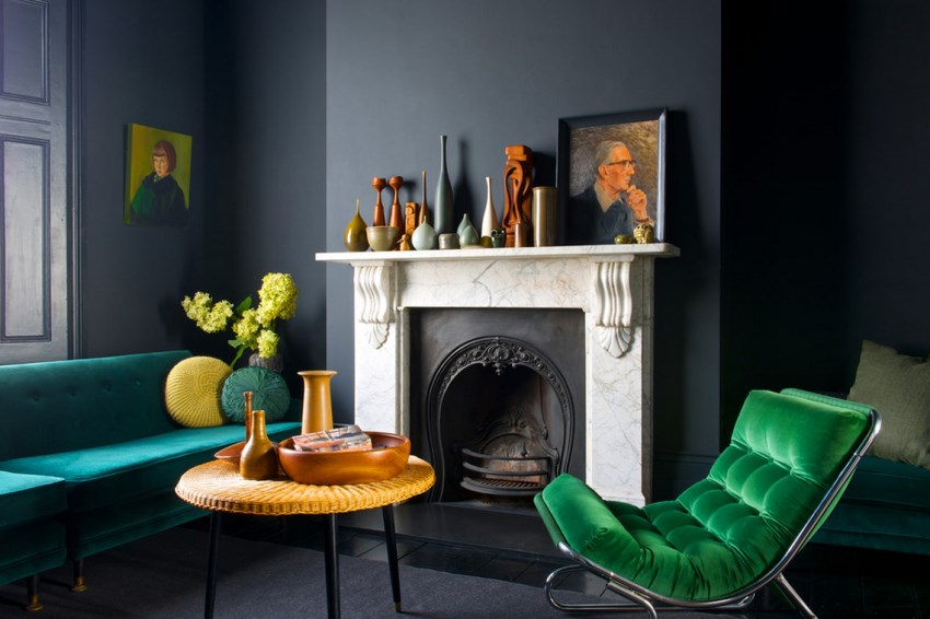 Jewel tones stand out against dark walls